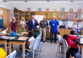 Sen. Jim Brewster hosted Gov. Tom Wolf and local officials today at Twin Rivers Elementary School in McKeesport to discuss updates to Pennsylvania's old charter school law.